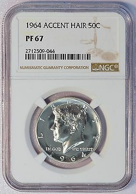 1964 Kennedy Silver Half Dollar Proof Coin ACCENT HAIR (NGC PF 67 PF67) (04669)