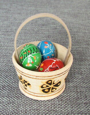 3 Wooden Painted Ukrainian Easter Eggs in Basket,Pysanka,Pisanki Colorful