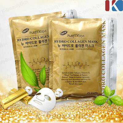 PUREDERM Hydro Collagen Gold Mask 1pack (25 sheets) Korean Cosmetics k-beautybox
