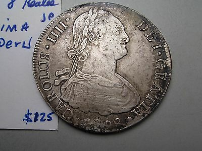 1808 LIMAE JP 8R Silver 8 Reales. Spanish colonial Lima PERU. Charles IIII