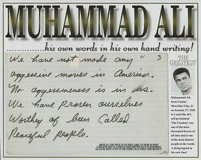 MUHAMMAD ALI Cassius Clay personal owned used HAND WRITTEN speech pc World Champ