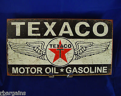 Texaco Motor Oil Gasoline Logo Metal Tin Sign Black White Vintage Retro Garage