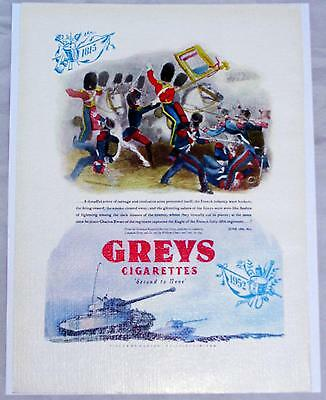 1952 UK Grey's Cigarettes Scots Greys Defeat French Infantry Art Print Ad