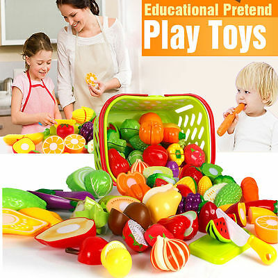 Kids Pretend Role Play Kitchen Fruit Vegetable Food Toy Cutting Set Child Gift