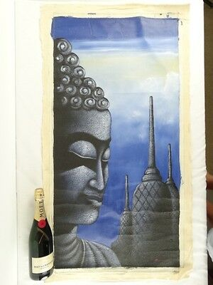 Contempoary Bali School Buddha & Temples Painting Indonesia Lat 20thC