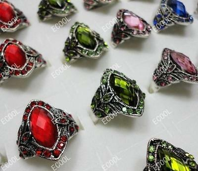 15pcs Alloy & Rhinestone Rings Wholesale Jewelry Lots New Fashion Free Shipping