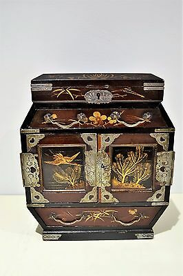 Antique Japanese Lacquered Wooden Table Cabinet Jewelery Box Mini Tansu