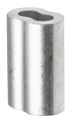 """Aluminum Crimping Loop Sleeve for 1/8"""" Diameter Wire Rope and Cable Pack of 100"""