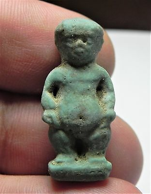 Zurqieh -Af2105- Ancient Egypt , Faience Pataikos Amulet.1075 - 600 B.c