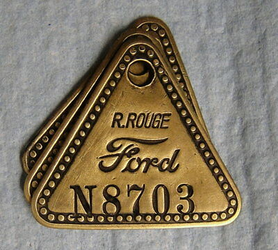 Vintage Tool Check Brass Tag: FORD RIVER ROUGE; Original Automotive Factory Item