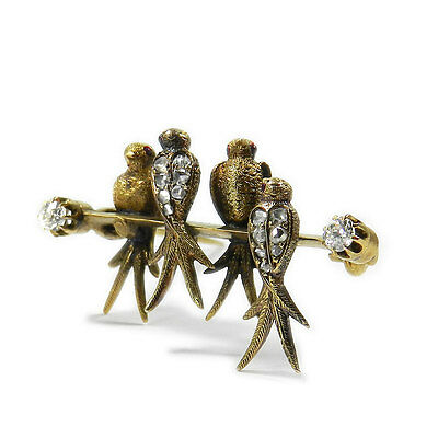 Antike 0,2 ct Diamant Brosche Schwalben 585 Gold um 1900 Novelty Diamond Brooch