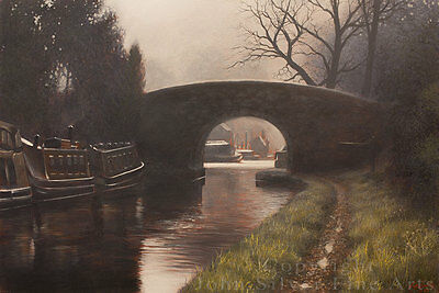BRITISH CANAL SCENE LANDSCAPE ART. LARGE ORIGINAL PAINTING by JOHN SILVER. BA.