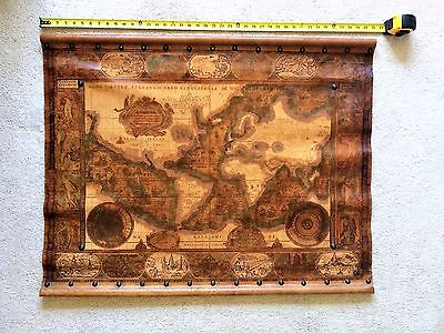 Large Signed Vintage Hand Tooled Leather World Wall Map