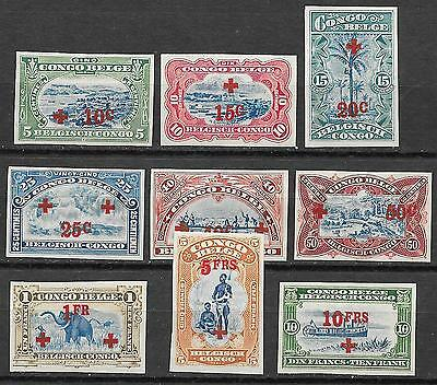 Belgian Congo stamps 1918 OBP 72-80 RED CROSS Imperforated set  UNG  VF