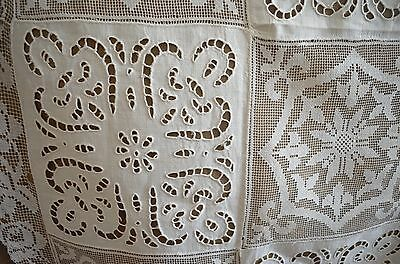 Gorgeous Vintage Hand Made Linen Lace Runner With Openwork Ss664