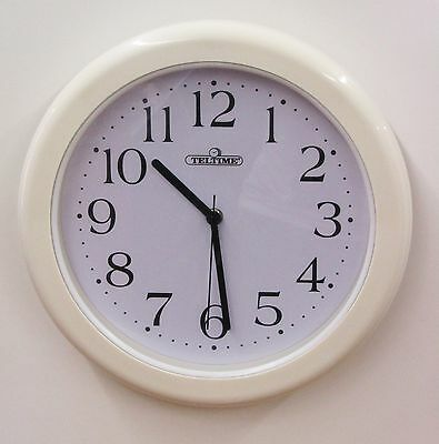 """Teletime 12"""" Wall Clock  Water Resistant  For Bathroom, Kitchen C-97165W"""