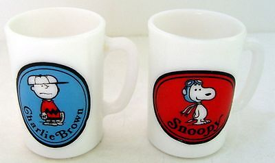 2 Peanuts SNOOPY & CHARLIE BROWN MILK GLASS MUGS or CUPS from AVON in 1969