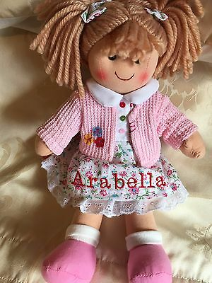 Personalised Rag Doll Poppy Christening. New Baby. Flower Girl 28 cms Ragdoll