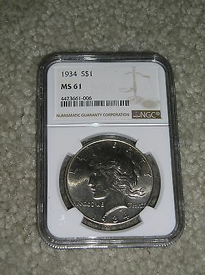 1934-P PEACE SILVER DOLLAR NGC MS 61 CERTIFIED, 4th LOWEST MINTAGE IN SET.