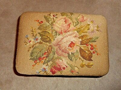 Antique Needlepoint Foot Stool Bamboo Legs Roses