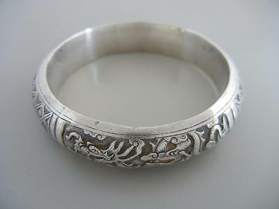Vintage Antique Chinese Sterling Bangle Bracelet 2 Dragons Small Size