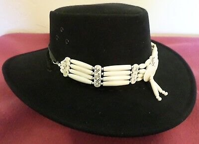 Bone  Beaded Western Hatband Or Necklace/bone Choker Unusual Free Ship Usa