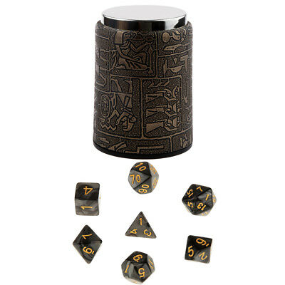 7pcs Multi-sided Black D4-D20 Dice w/ Dice Cup Set for Dungeons & Dragons