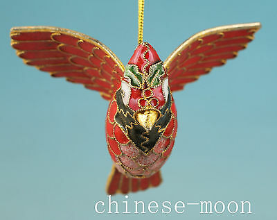 Lovely Chinese Old Cloisonne Handmade Carved Bird Statue Ornament