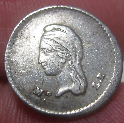 1843 Mo-LR (MEXICO) 1/4 REAL (CUARTILLA) SILVER --very scarce--- NICE--