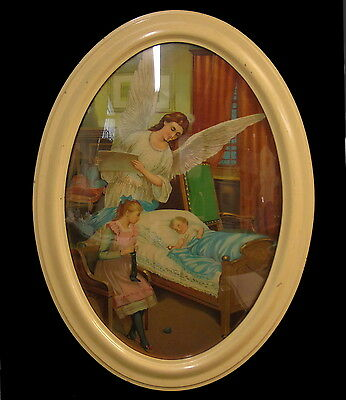Vintage Oval Convex Bubble Glass Picture Frame Guardian Angel Chromolithograph