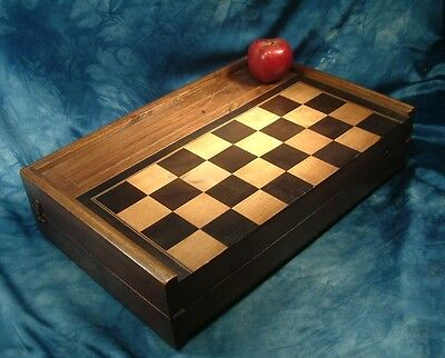 Antique inlaid solid walnut quality solid folding Chess board box  .