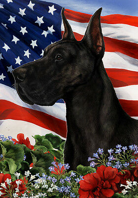 Garden Indoor/Outdoor Patriotic I Flag - Black Great Dane 161501