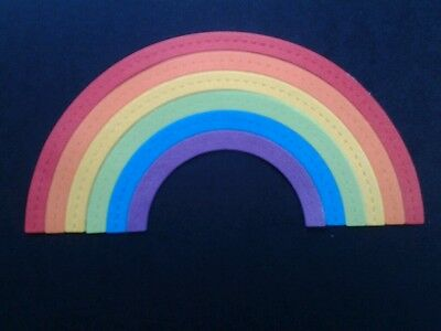 6 Sets of Stitch Embossed Colourful Rainbow Die Cuts
