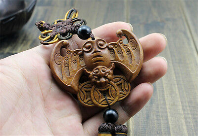 Wood Carving Chinese Feng Shui Wealth Bat Coin Car Pendant Amulet Wooden Craft