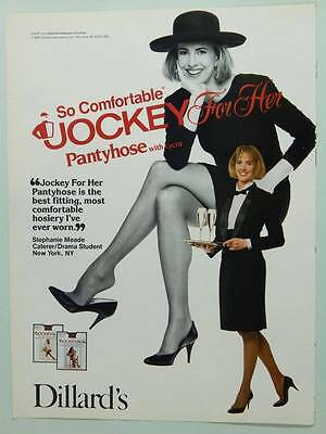 1989 Jockey for Her Pantyhose  Vintage Ad Page Cute Girl Server Waitress Caterer