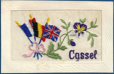 Postcard - Embroidered Silk - WW1 - Cassel, France, around 1915