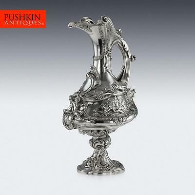 ANTIQUE 19thC VICTORIAN EXCEPTIONAL SOLID SILVER EWER, BARNARDS c.1869