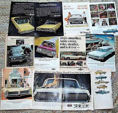 Large Lot, Original old car automobile Ads 60s 1965, 1967 FORD plus others