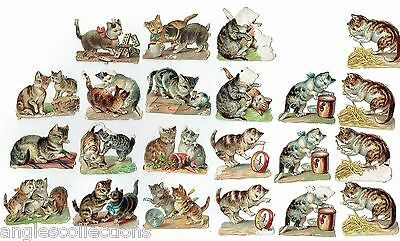 22 Various CATS Lithographic Die Cut Embossed Paper Scraps Antique