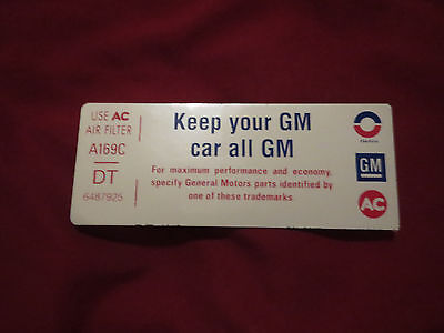 1974 PONTIAC GTO AIR CLEANER KEEP YOUR GM ALL GM AIR CLEANER BASE DECAL