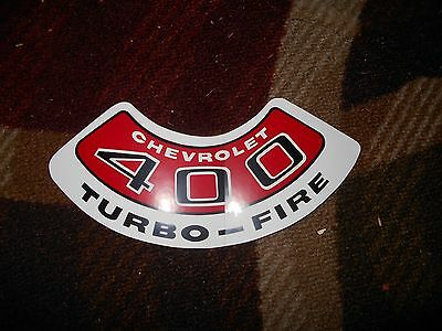 CHEVROLET 400 TURBO-FIRE TURBOFIRE AIR CLEANER TOP LID DECAL STICKER NEW RED//CHR