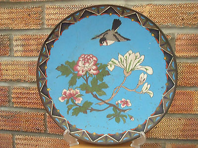 """Antique Japanese Cloisonne Charger Plate with Bird & Blossom 1880-1900 ~ 12"""""""