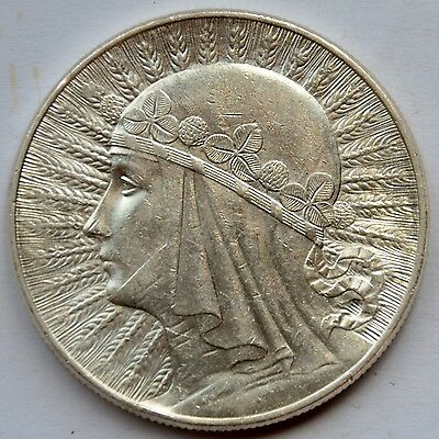 10 Zlotych Silver coin, Queen Jadwiga 1932 Warsaw Mint, mint mark