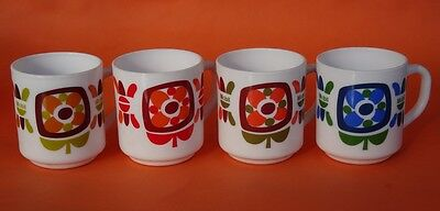 A SET OF 4 VINTAGE 1970's FRENCH ARCOPAL OPAL GLASS MUGS from MOBIL