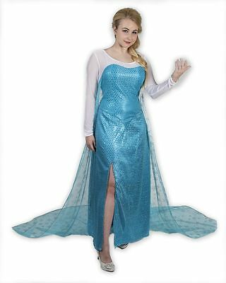 Frozen Princess Elsa Dress Inspired Adult Costume Cosplay Blue Gown Dress Large
