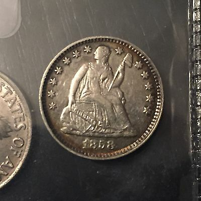 1858 Seated Liberty Silver Half Dime- AU - Details Toning..H10C