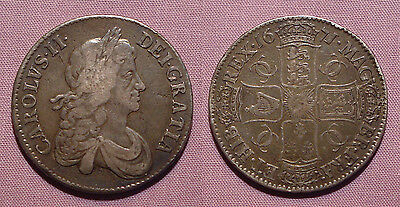 1671 KING CHARLES II SILVER CROWN  - V. TERTIO, 2nd BUST