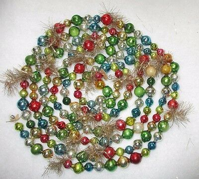 """Mercury Glass Bead Christmas Garland = 100"""" Long = Assorted Colors & Sizes Beads"""