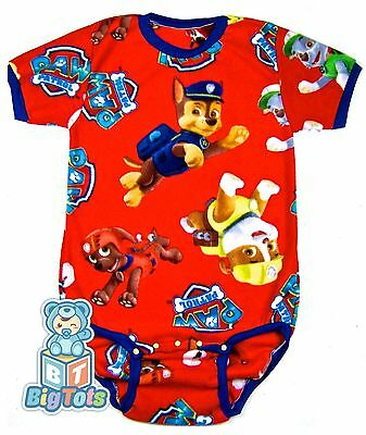 Big Tots by MsL *RED* Paw Patrol adult size Fleece bodysuit baby fabric