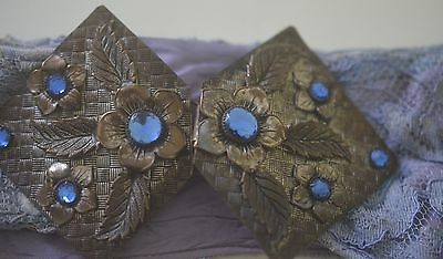 Gorgeous Vintage Antique Blue Silk Lace Belt With Beautiful Buckle Ss674